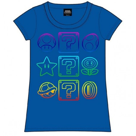 Super Mario Bros Camiseta Chica Power-Ups Talla M