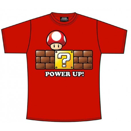 Super Mario Bros Camiseta Power Up rojo talla S