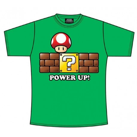 Super Mario Bros Camiseta Power Up verde T:M