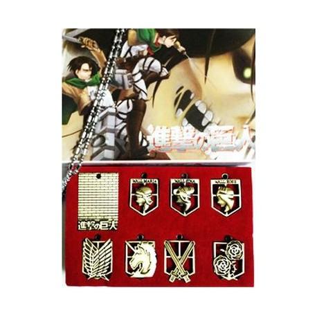 Shingeki no Kyojin - Pack emblemas con colgante.