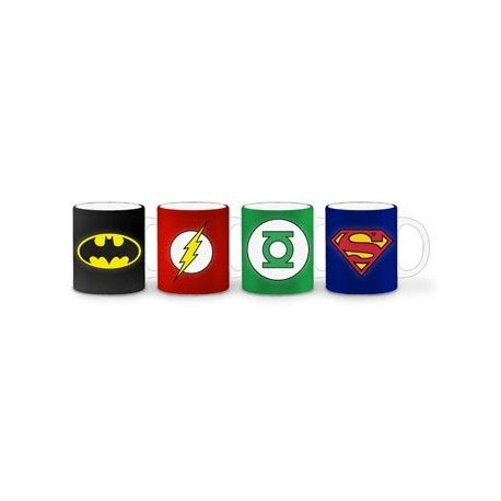 PACK 4 MINI TAZAS CAFE CERAMICA LOGOS DC COMICS SUPERMAN BATMAN